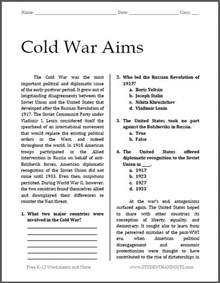 cold war aims free printable worksheet for high