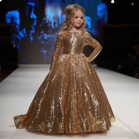 hot sparkly gold ball gown sequined children pageant
