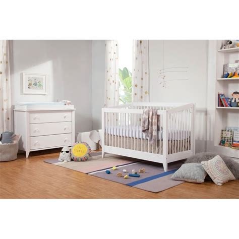 babyletto sprout 3 drawer white changing table dresser