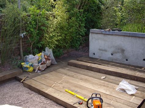 decking with new railway sleepers