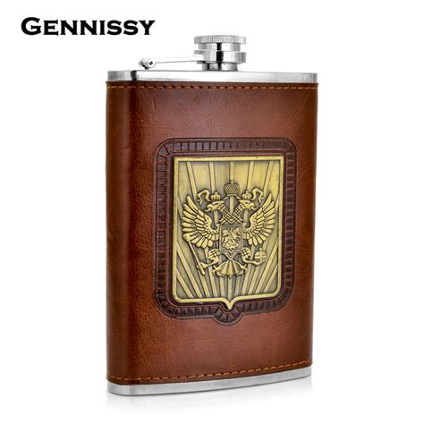 stainless steel 9 oz flask aliexpress buy gennissy russia s emblem printed