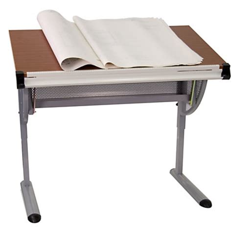 Office Depot Drafting Table Flash Furniture Adjustable Drawing And Drafting Table Pewter By Office Depot Officemax