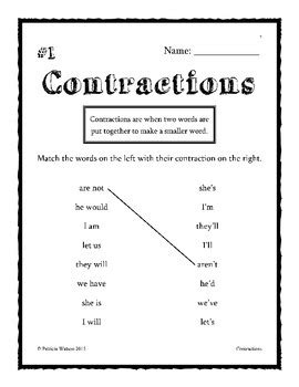 contraction worksheets  patricia watson teachers pay