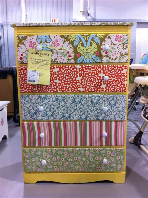 Fabric Decoupage Dresser - forget painting i am covering my dresser in fabric