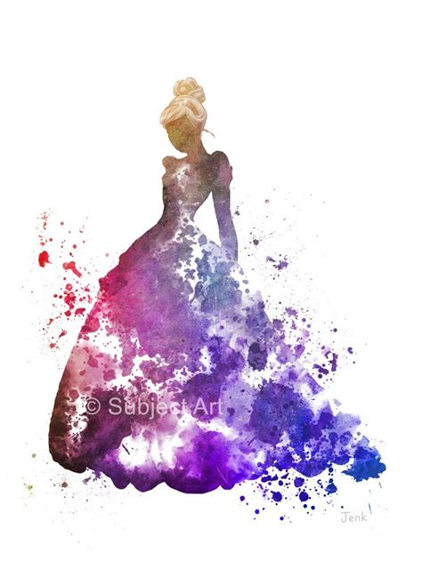 disney princess home decor cinderella art print illustration disney princess wall
