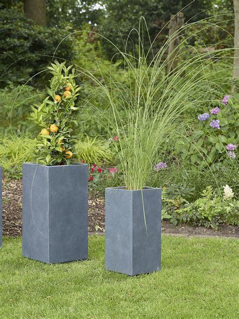 ivyline fibre clay vase plant pots set   anthracite
