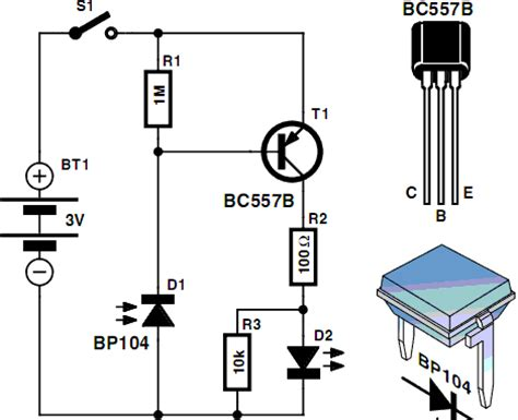 bc557 transistor projects electronic hobby circuits infrared detector circuit diagram using bc557