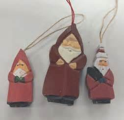 carved wood santa father christmas tree ornaments lot of