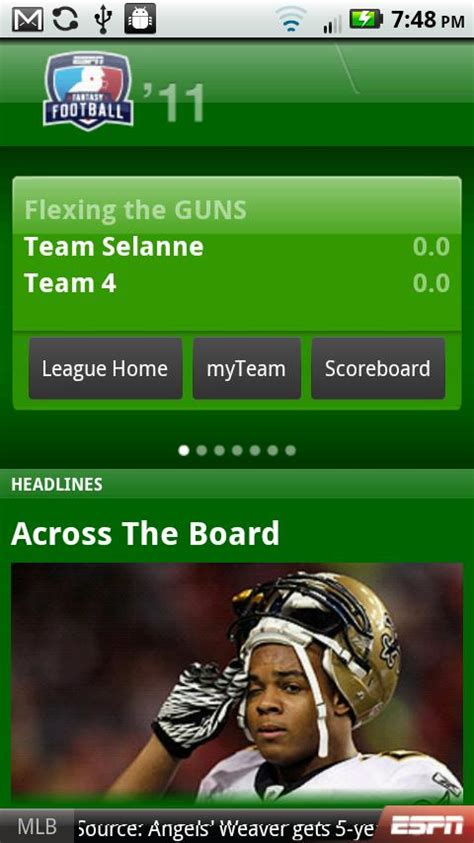 football for android espn football app for android here for 2011 nfl season doesn t cost a dime