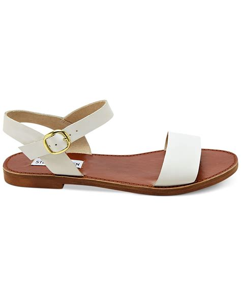 steve madden flat shoes for steve madden donddi flat sandals in white lyst