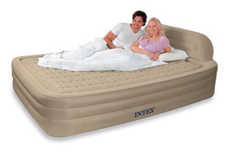 intex deluxe queen comfort frame air bed electric pump ebay