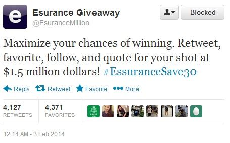 Esurance Giveaway - super bowl 2014 esurance giveaway attracts twitter scam working the net