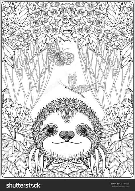cute sloth in forest coloring page for adults