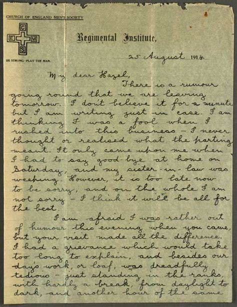 letters of through and war the world war two correspondence of ted and juanita books letter to hazel 25 august 1914 cecil malthus world