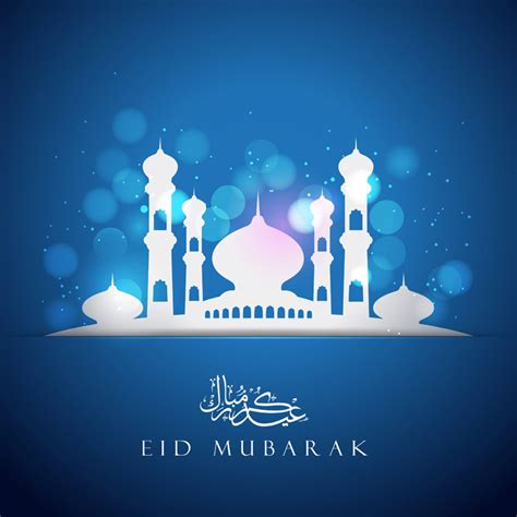 eid mubarak card template vector blue greeting card template with mosque cdrai
