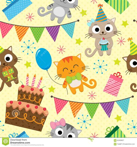 pattern birthday cute birthday party pattern with cats stock vector image
