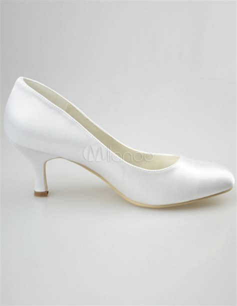 White Satin Bridal Shoes by Elegante Hochzeit Pumps In Wei 223 Milanoo