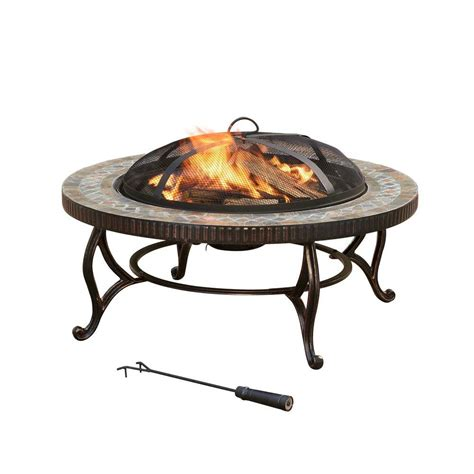 Pleasant Hearth Elizabeth 34 In Round Slate Fire Pit Home Depot Firepits