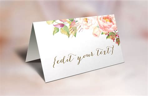 Themed Place Cards Template by Printable Place Cards Wedding Place Cards Floral Place Cards