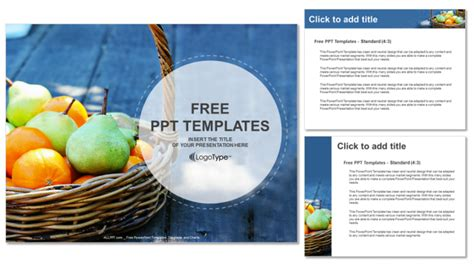 fresh fruit basket food ppt templates