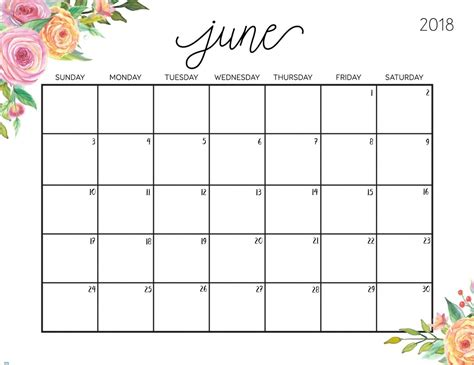 Free Calendar Printable Template by Free Printable Calendar June 2018 Printable 2018