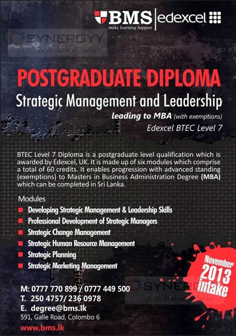 Mba In Strategy And Leadership by Postgraduate Diploma In Strategic Management And