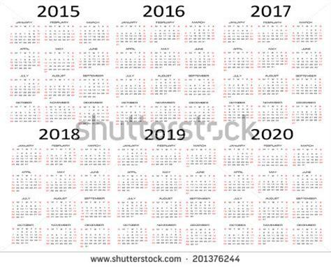 5 Year Calendar 5 Year Calendar 2015 2020 Calendar Template 2016