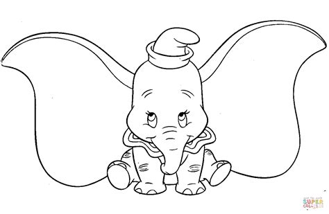 Cute Dumbo Coloring Page Free Printable Coloring Pages Dumbo Coloring Pages