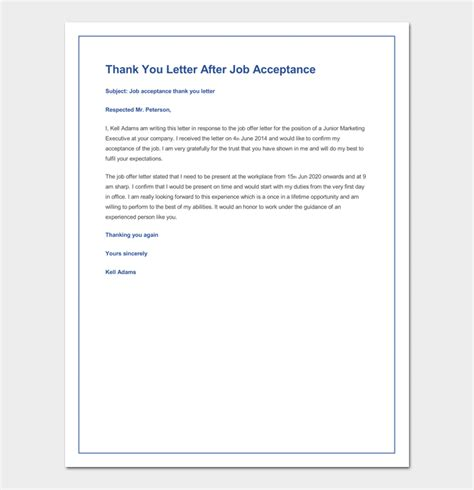 thank you letter for job offer strong acceptance confirm of bunch