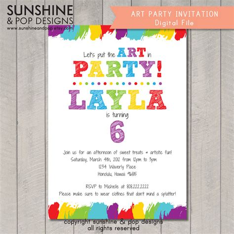 free printable art birthday invitations items similar to printable art party invitation birthday