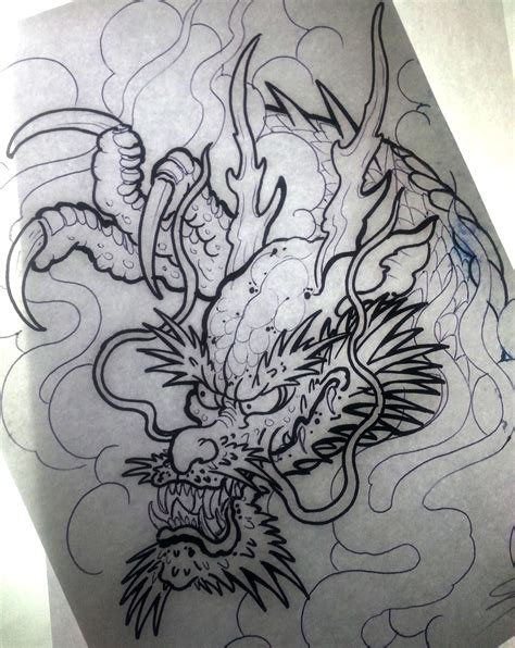 japanese oriental tattoo designs draw sketchs dragons