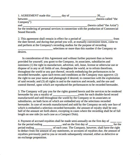 10 Recording Contract Templates To Download Sle Templates Recording Contract Template