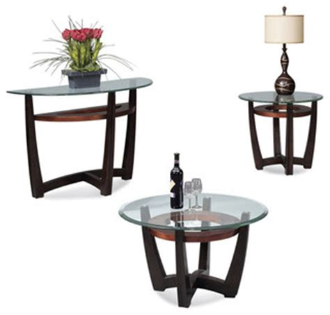 intrigue transitional round glass top table chairs bassett mirror elation round 3 piece glass top cocktail