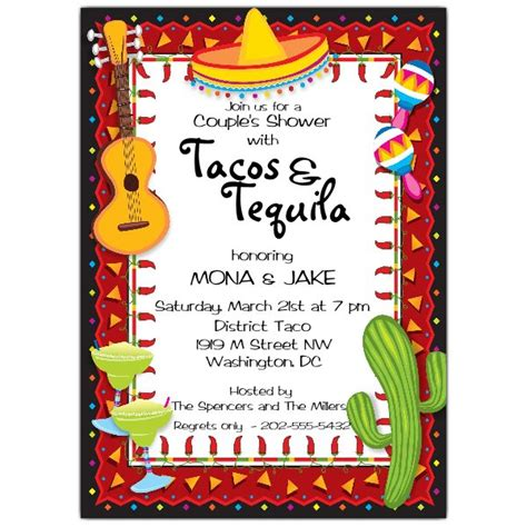 Mexican Party Fiesta Invitations Paperstyle Mexican Invitation Template