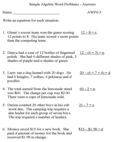 Algebra Word Problems Worksheets by Algebra Word Problems Worksheets With Answers Exles