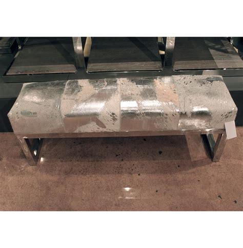 silversmith bench moro hollywood regency grey silver metallic hide steel bench kathy kuo home