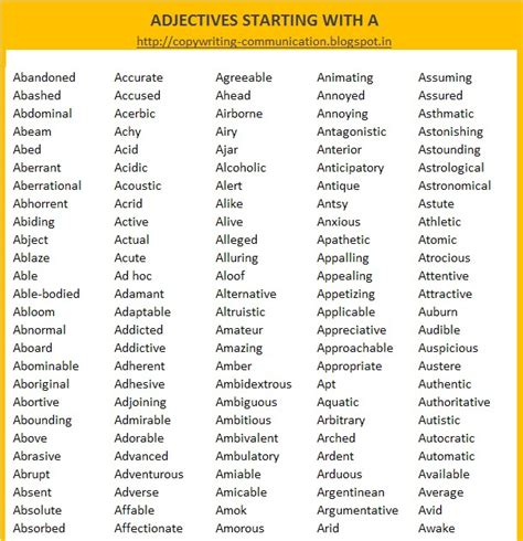 Adjectives With Letter H