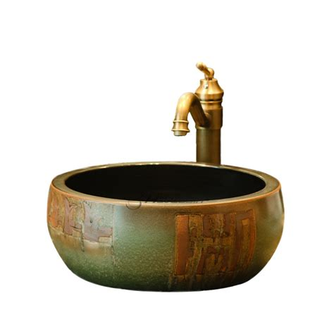 Cheap Kitchen Faucets antique bronze round shaped ceramic vessel sink without faucet