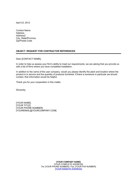 Construction Contract Letter Of Credit contractor reference letter template letter template 2017