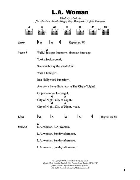 Lyrics L A The Doors by L A Sheet By The Doors Lyrics Chords 48603