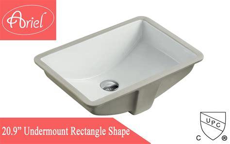 21 Inch Bathroom Vanity Sink Rectangular White Biscuit Porcelain Ceramic Vanity Undermount Bathroom Vessel Sink 21 X 15 X