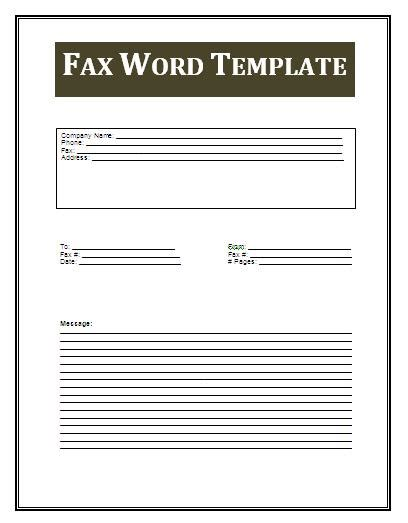 fax template in word free coupon template free business templates