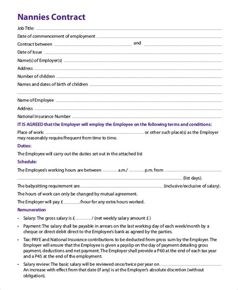 8 Nanny Contract Sles Sle Templates Nanny Agreement Template