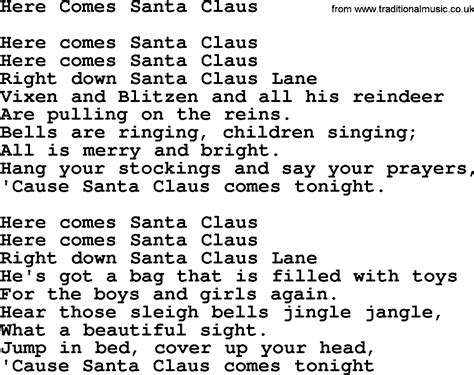 printable lyrics for santa claus is coming to town pin song here comes santa claus image search results on