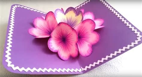 How To Make Pop Up Flowers Card In Paper - diy 3d flower pop up card diy thought