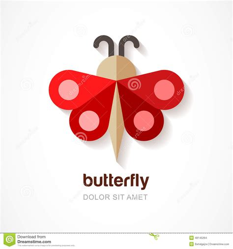 red paper butterfly vector logo template abstract flat