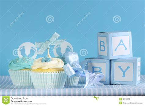 Cle1256 Piyama Baby Motif Boys New Born blue theme baby boy three cupcakes and baby favour gift boxes stock photo image 40718013
