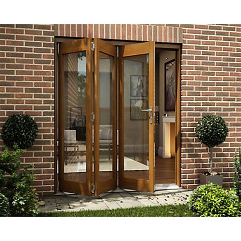 Homebase Patio Doors Oak Veneer Folding Sliding Patio Doorset 1794mm Wide