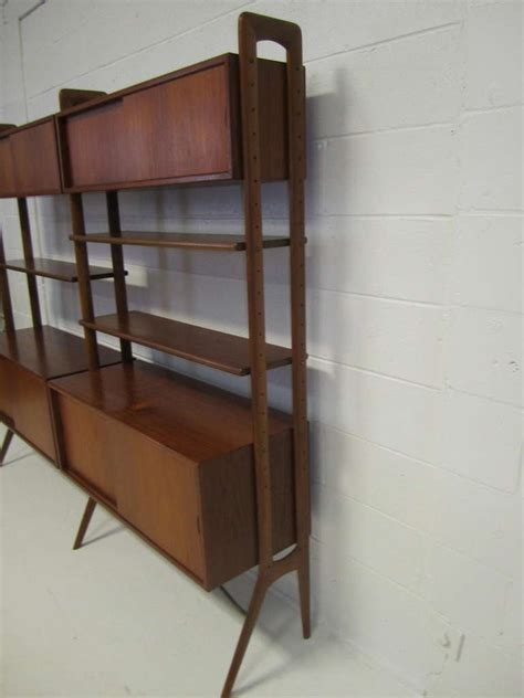 Teak Room Divider Modern Two Section Teak Room Divider Wall System By Kurt Ostervig For Sale At 1stdibs