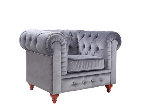 modern chesterfield grey velvet accent chair tufted